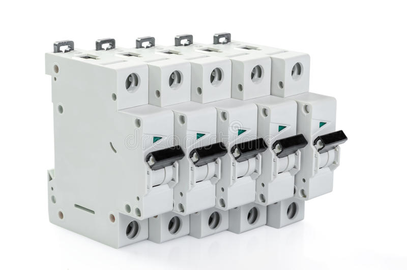 Five automatic circuit breakers royalty free stock photography
