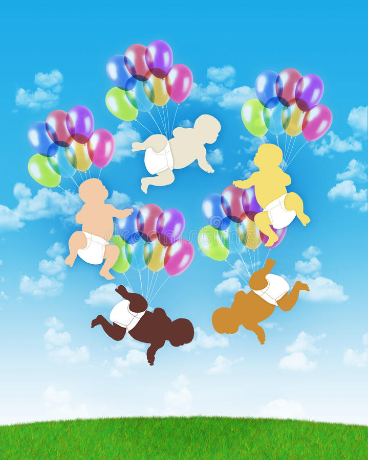 Five Babies Of Different Human Races Flying On Colorful Balloons Royalty Free Stock Photography