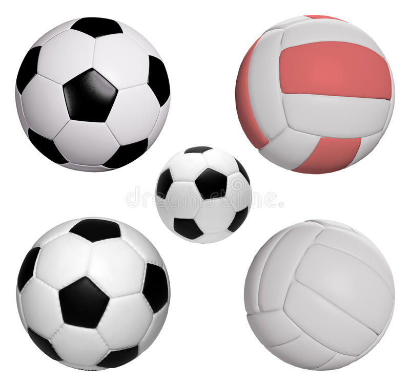 Five balls collection isolated with clipping path royalty free stock photos
