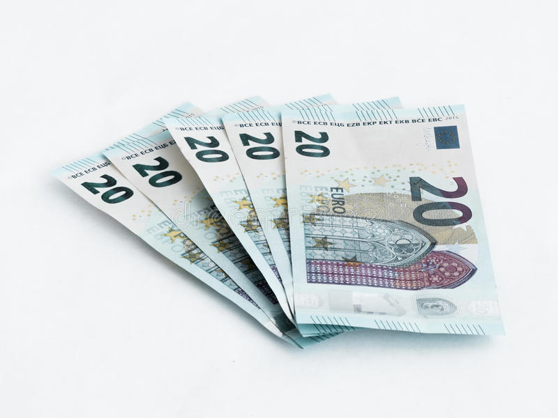 Five banknotes worth 20 Euro isolated on a white background royalty free stock images