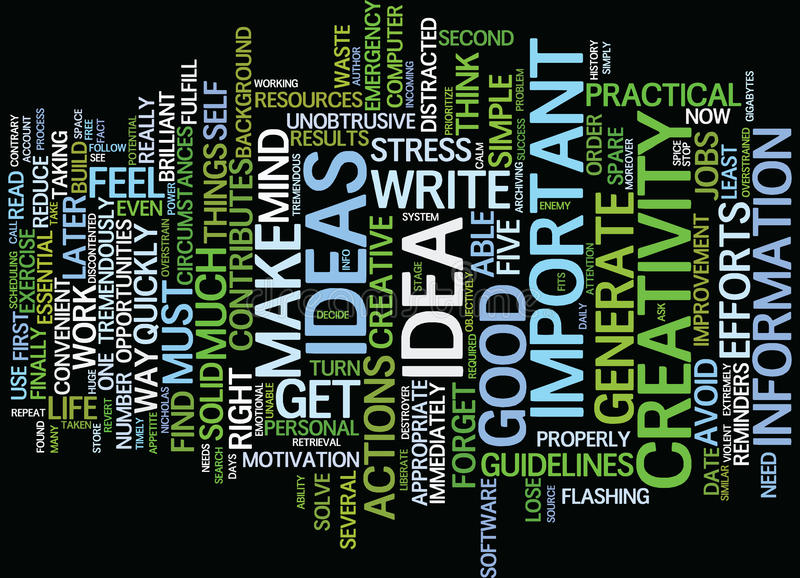Five Basic Steps To Benefit From Your Creativity Word Cloud Concept royalty free illustration