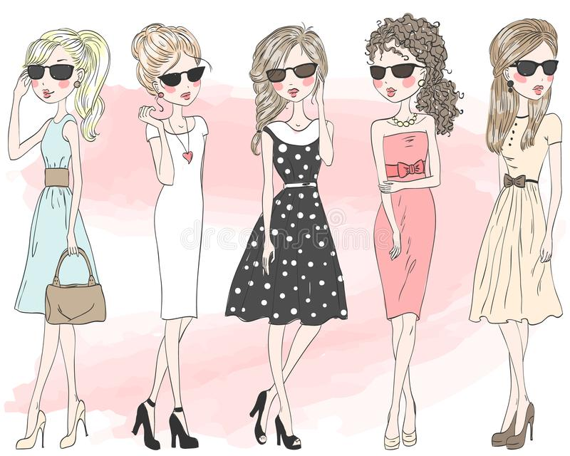 Five beautiful stylish cute cartoon fashion girls. royalty free illustration
