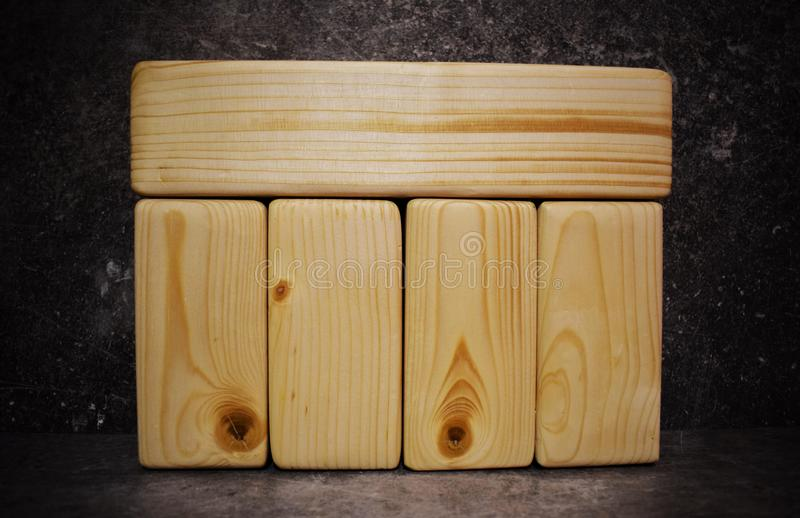 Five big wood blocks with empty space for text royalty free stock images