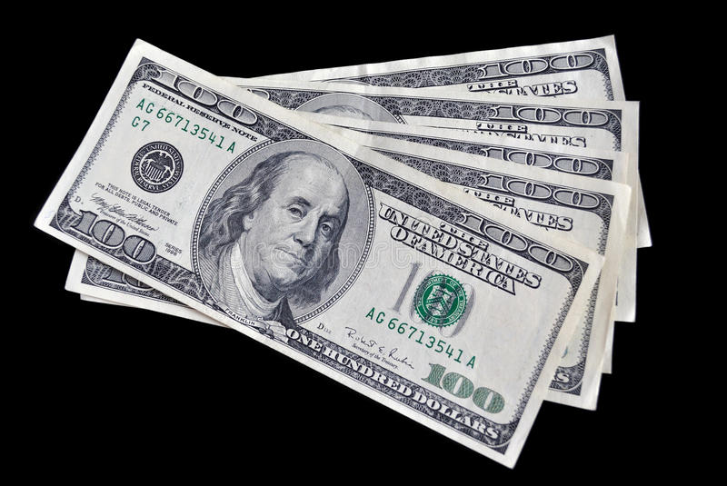 Download Five Bills On One Hundred Dollars Royalty Free Stock Images - Image: 16442009