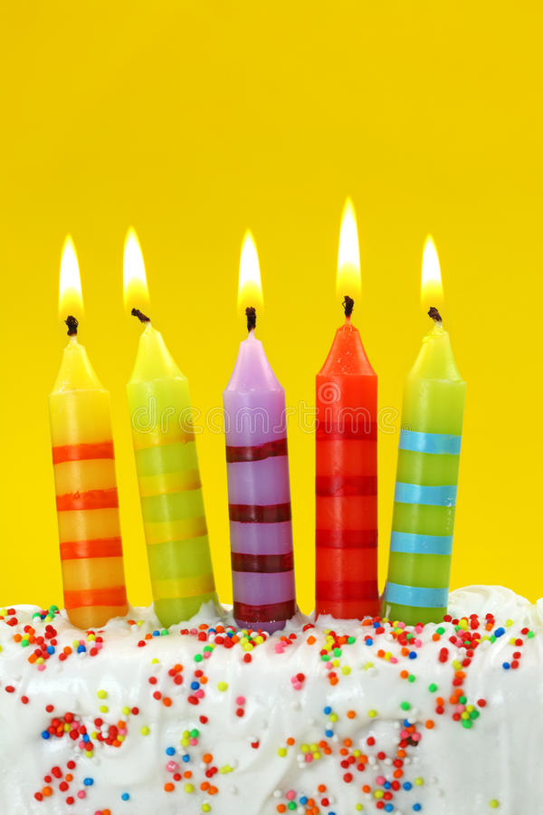 Five birthday candles stock images