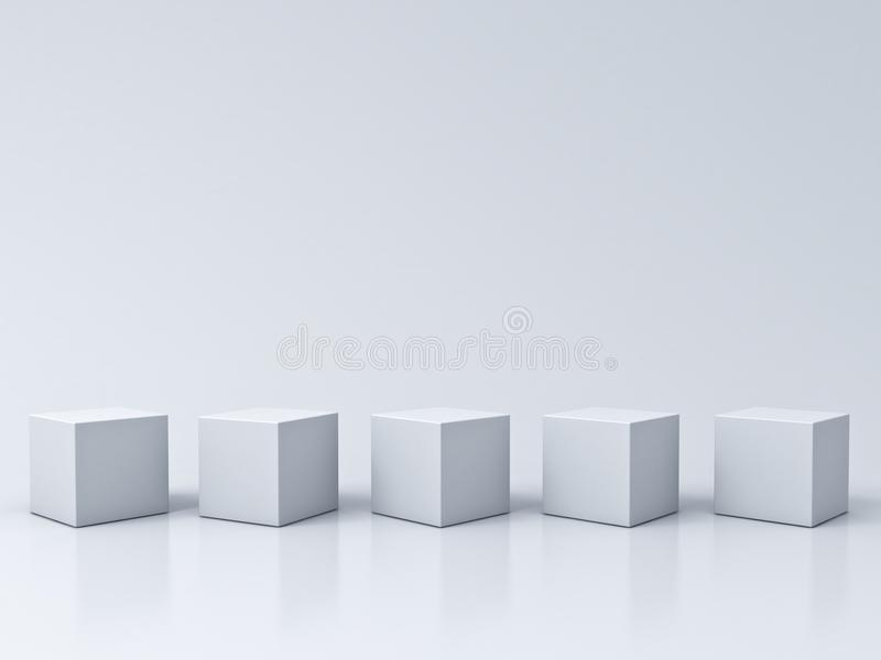 Five blank box podiums on white grey background with reflections stock illustration