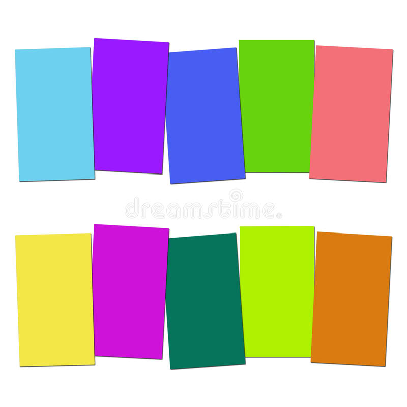 Five Blank Paper Slips Show Copyspace For 5. Five Blank Paper Slips Showing Copyspace For 5 Letter Words royalty free illustration
