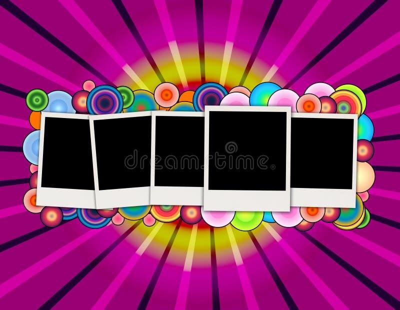 Five Blank Photos on Creative Purple Background stock illustration
