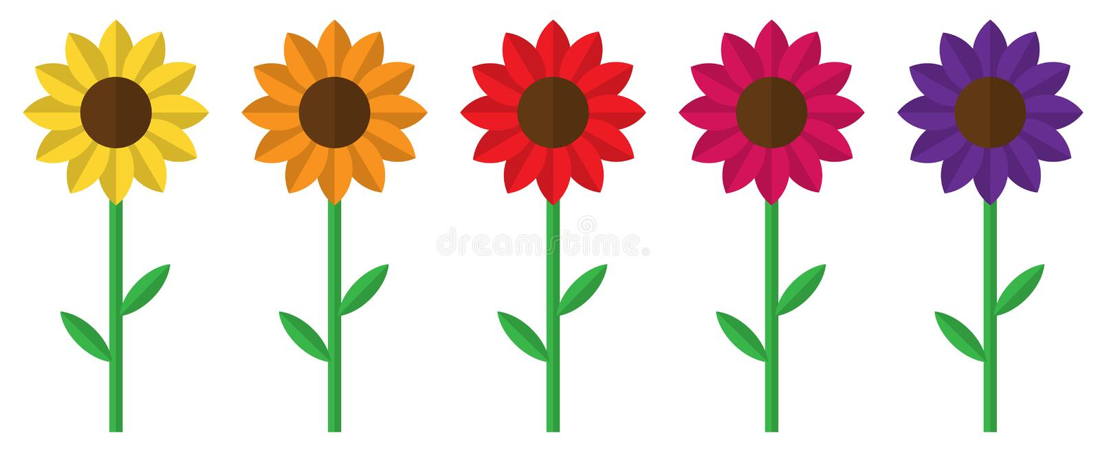 Five Bright Colourful Flowers, Sunflowers, Isolated, Vector Illustration  Stock Vector - Illustration of border, flower: 200429972