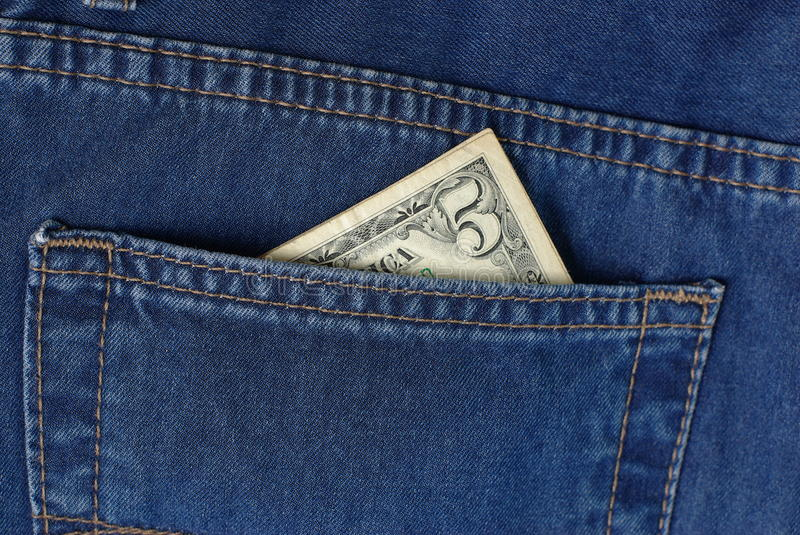 Download Five bucks in jeans pocket stock image. Image of budget - 14130937