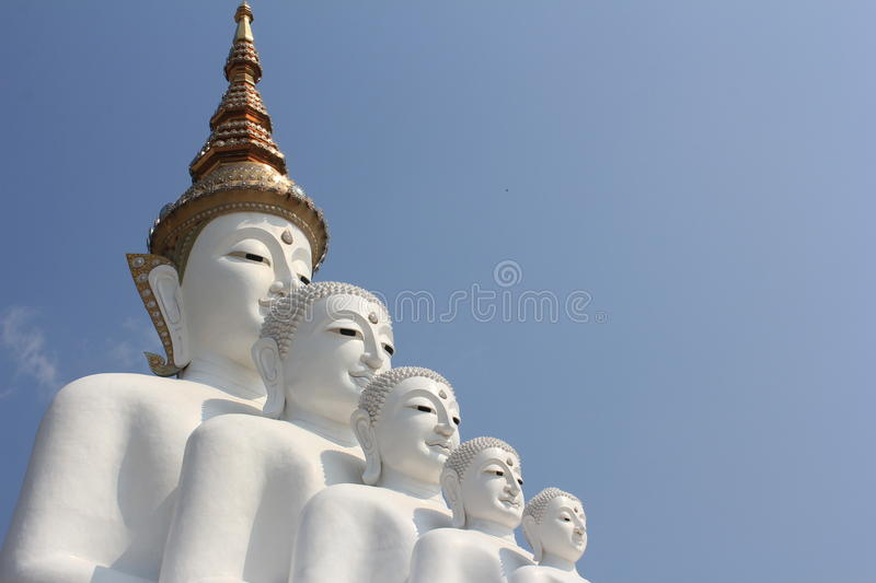 Five Buddha statue on Wat Phasornkaew royalty free stock images
