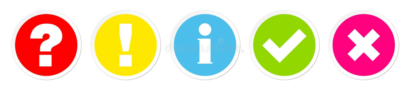 Five Buttons Question Answer Information Check Marks Color stock illustration