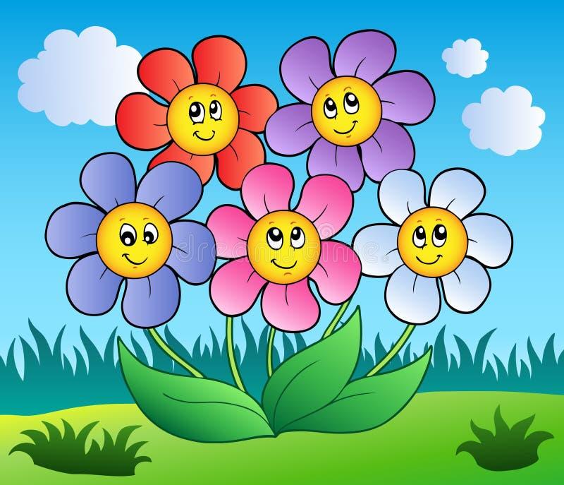 Five cartoon flowers on meadow vector illustration