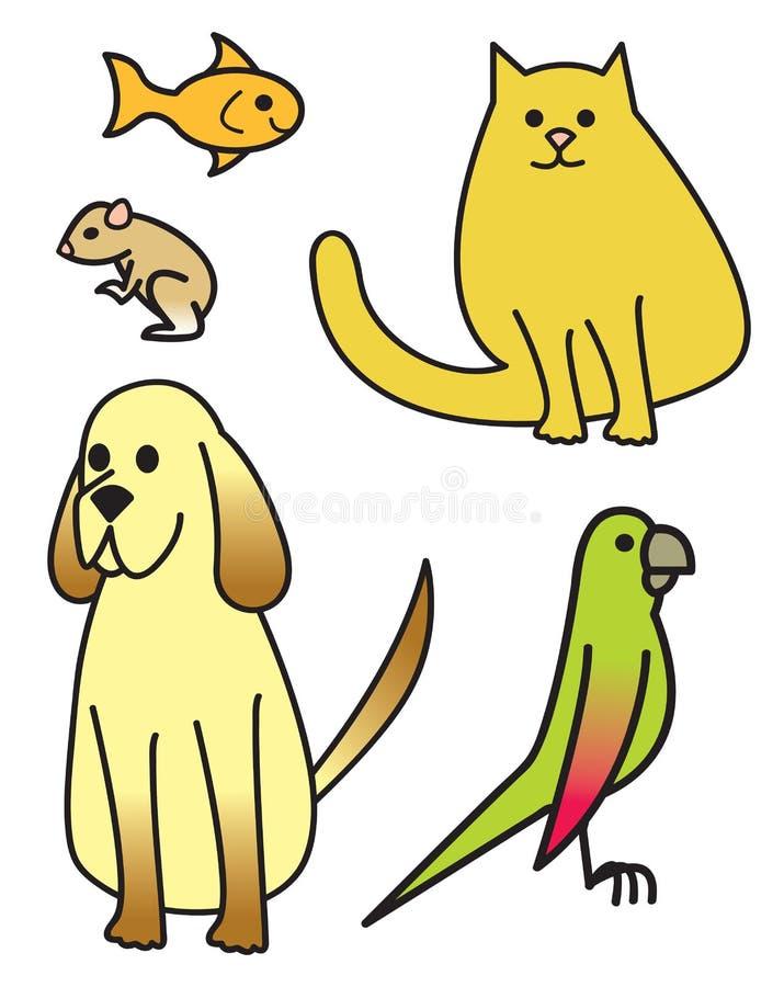 Five Cartoon Pets Stock Images