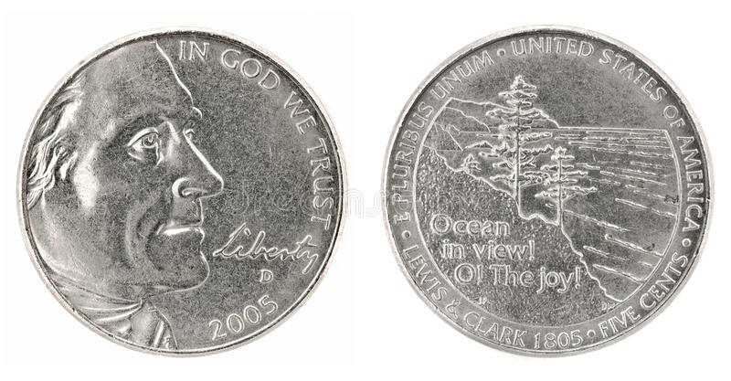 Five cents. United States money. Five cents coin (2005). Obverse and reverse isolated over white stock image