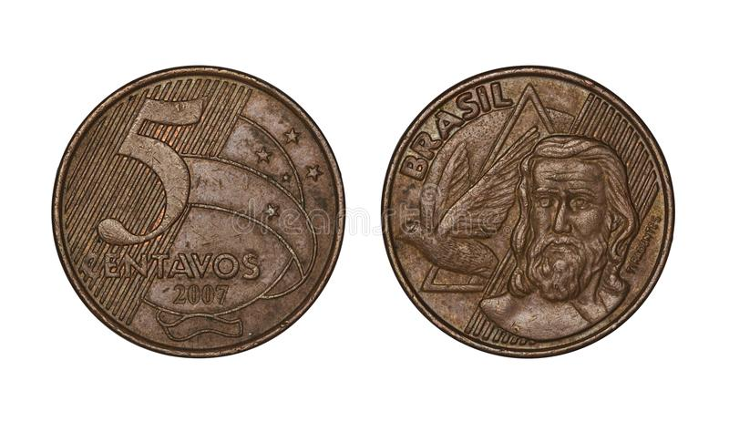 Five cents brazilian real coin, front and back faces royalty free stock images