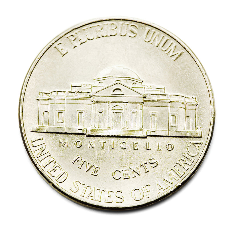 Five Cents Coin. Isolated over white stock photography