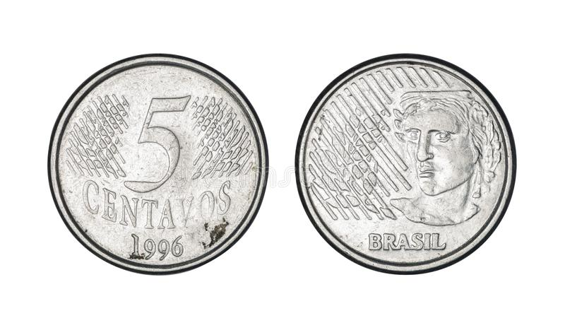 Five cents coin, year 1996 - Old Coins From Brazil stock photography