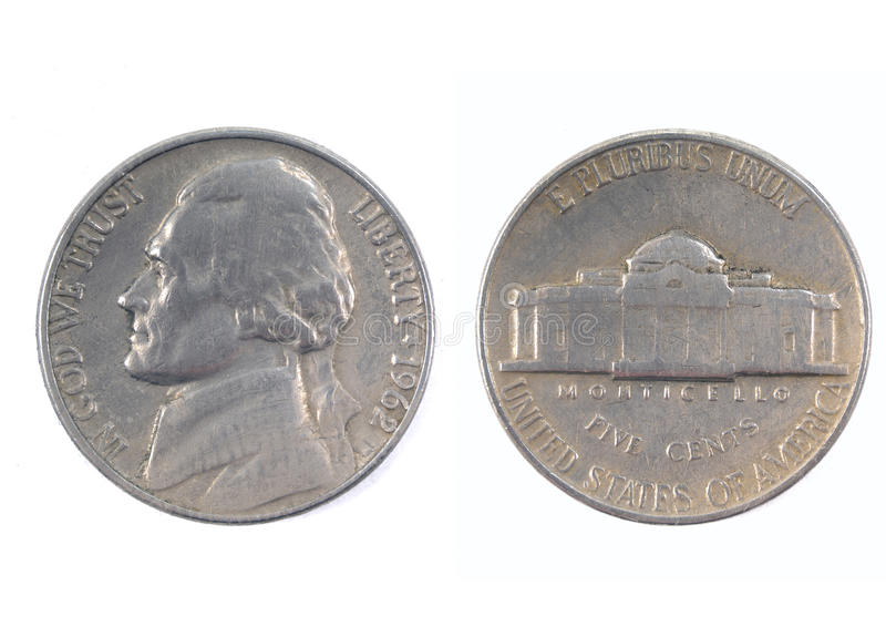 Five cents USA 1962 royalty free stock image