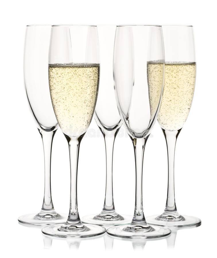 Download Five champagne glasses stock photo. Image of glass, side - 19436712