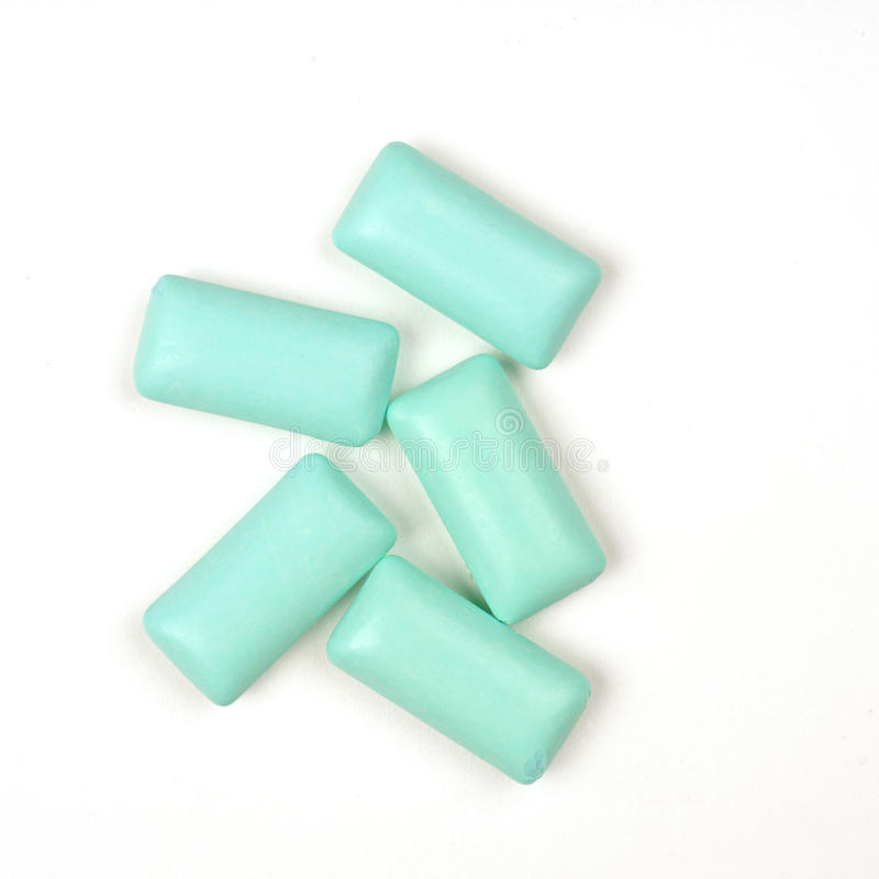Five chewing gum. On a white background stock photo