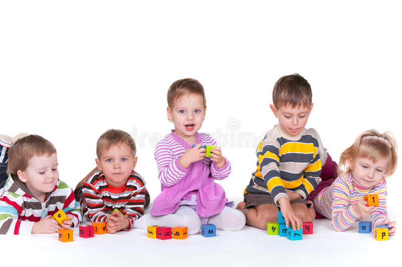 Download Five Children Playing Blocks Stock Images - Image: 17883264