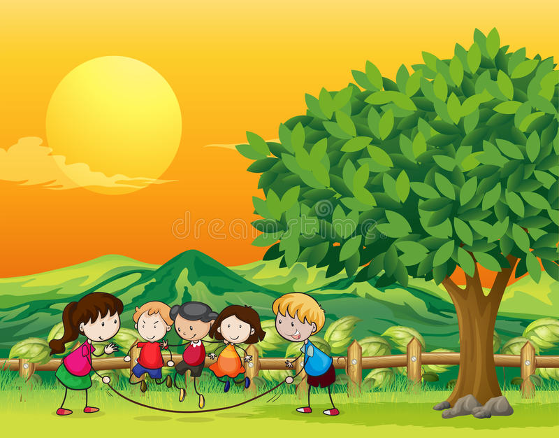 Five children playing jumping rope royalty free illustration