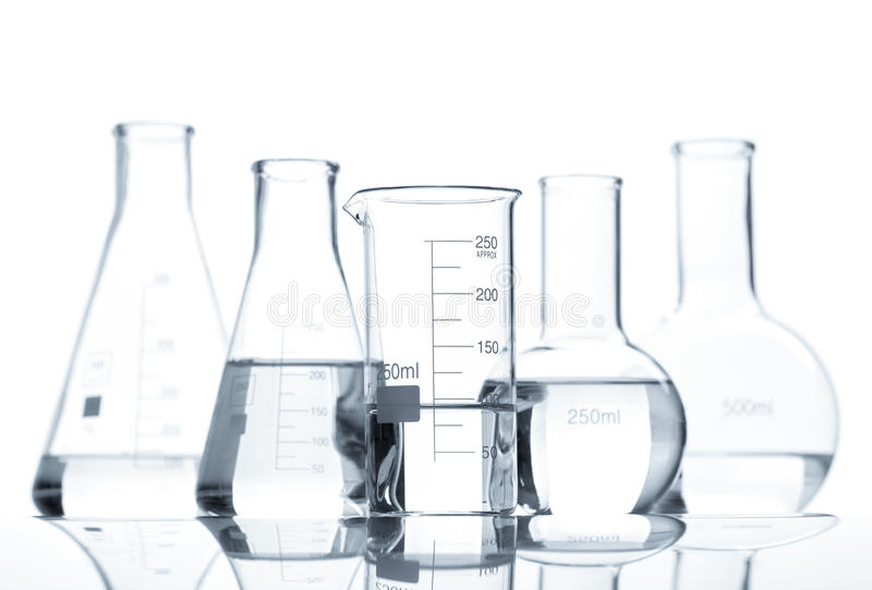 Download Five Classic Laboratory Flasks With A Clear Liquid Stock Image - Image: 26195951