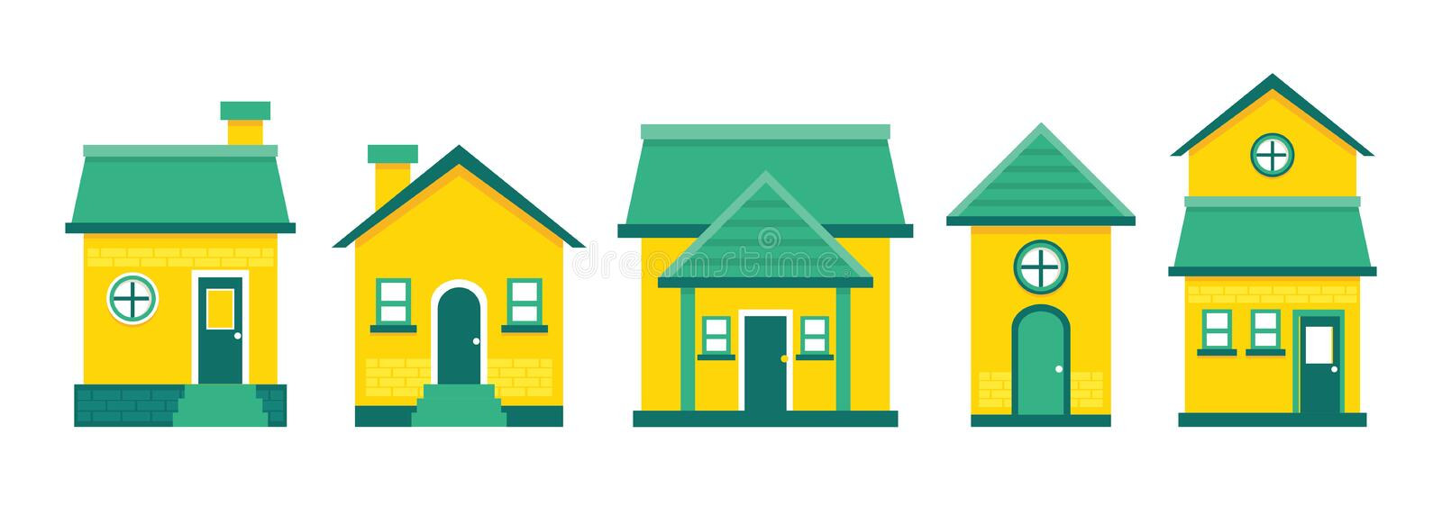 Five classic vector houses in green and yellow. Vector building green lime classic house isolated royalty free illustration