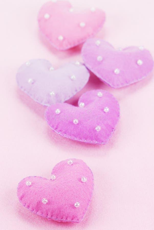 Five cloth hearts
