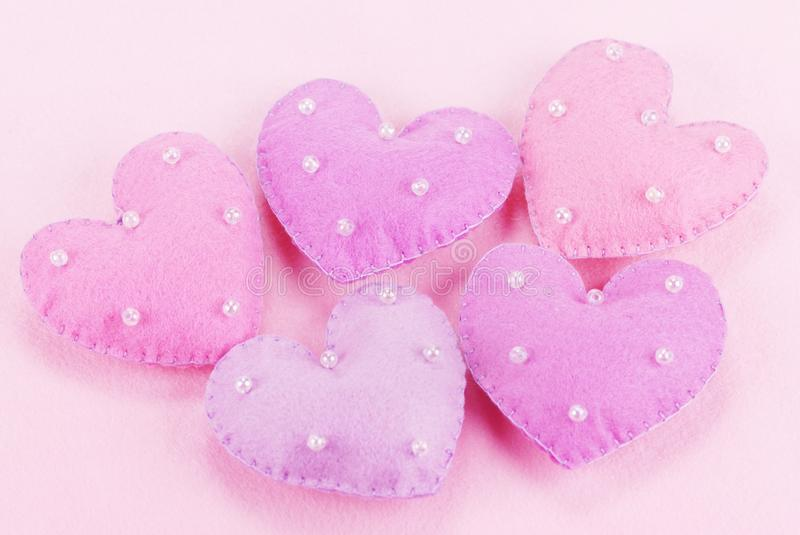 Download Five cloth hearts stock photo. Image of horizontal, love - 12580672