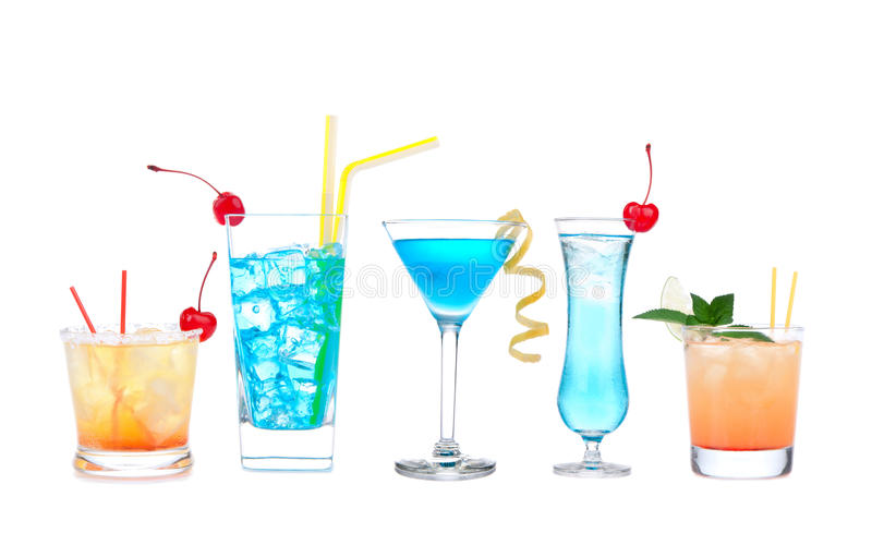 Five cocktails with alcohol margarita cocktail martini blue hawaian royalty free stock photos