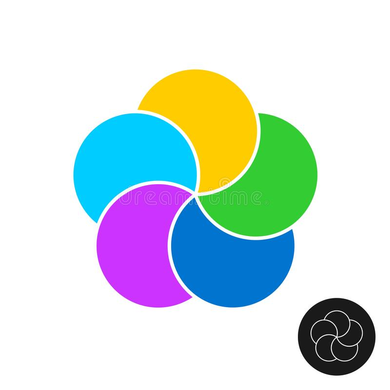 Five color circles infographic elements template. 5 round parts graphic design. stock illustration