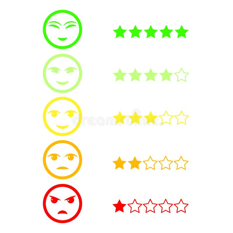 Five Color Faces Feedback/Mood. Set five faces scale - smile neutral sad - isolated vector illustration. Flat design stock illustration