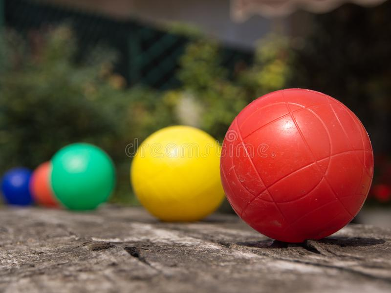 Five colored balls stock photo