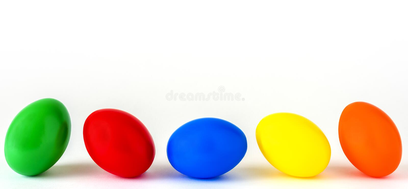 Five colored Easter eggs royalty free stock photography