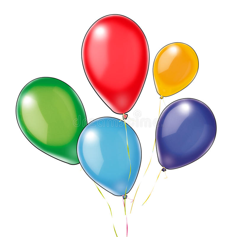 Five colorful balloons on white. Five colorful balloons red, blue, yellow, green, violet isolated on white. Transparent background. Digital illustrations for vector illustration