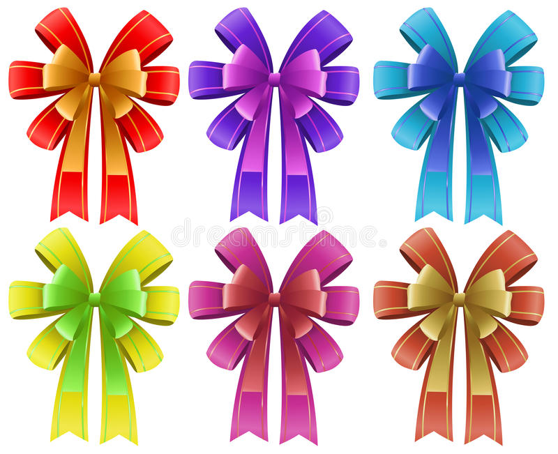 Five colorful ribbons. Illustration of the five colorful ribbons on a white background royalty free illustration