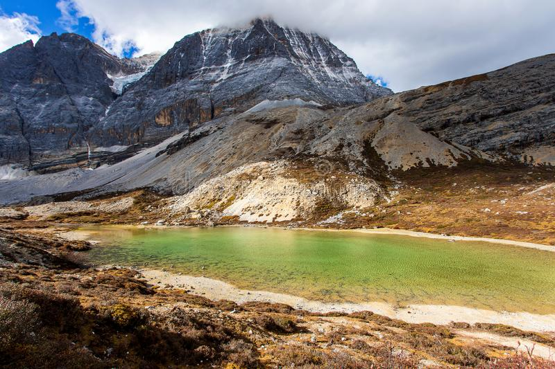 Five Colors Lake at Doacheng Yading National park, Sichuan, China. Last Shangri-la royalty free stock photos