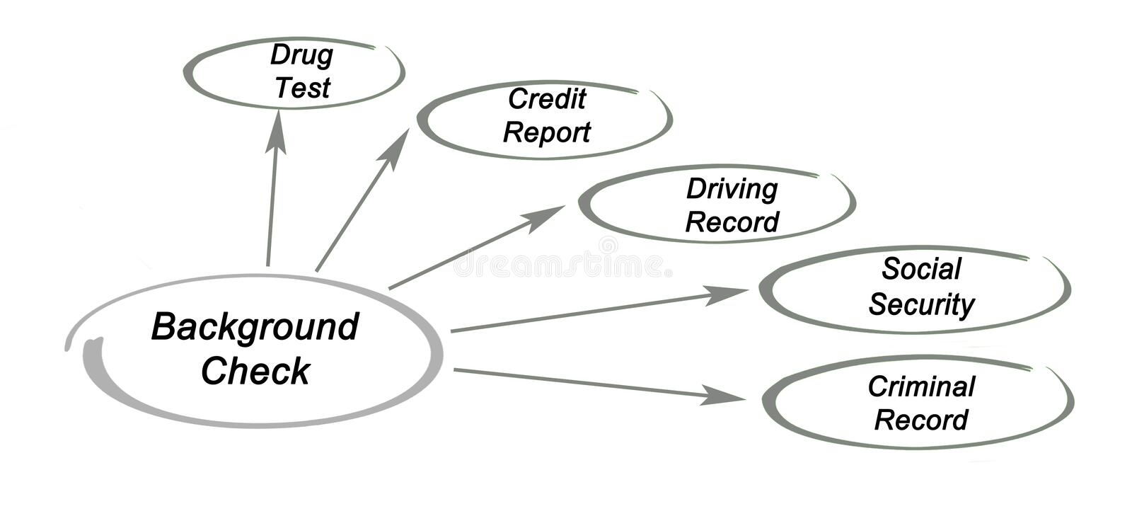 Components of Background Check. Five Components of Background Check royalty free stock image