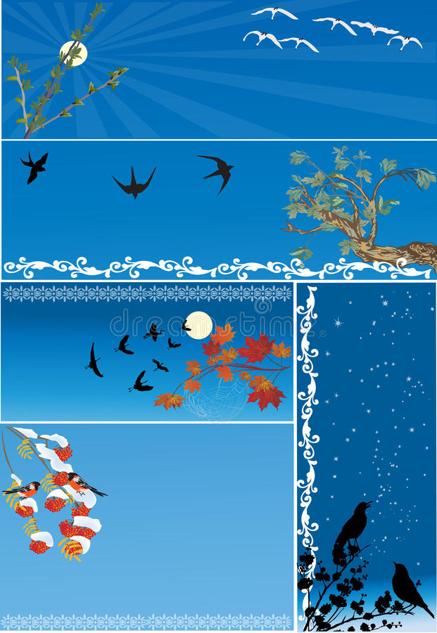 Download Five Compositions With Birds On Blue Stock Vector - Illustration: 25961972