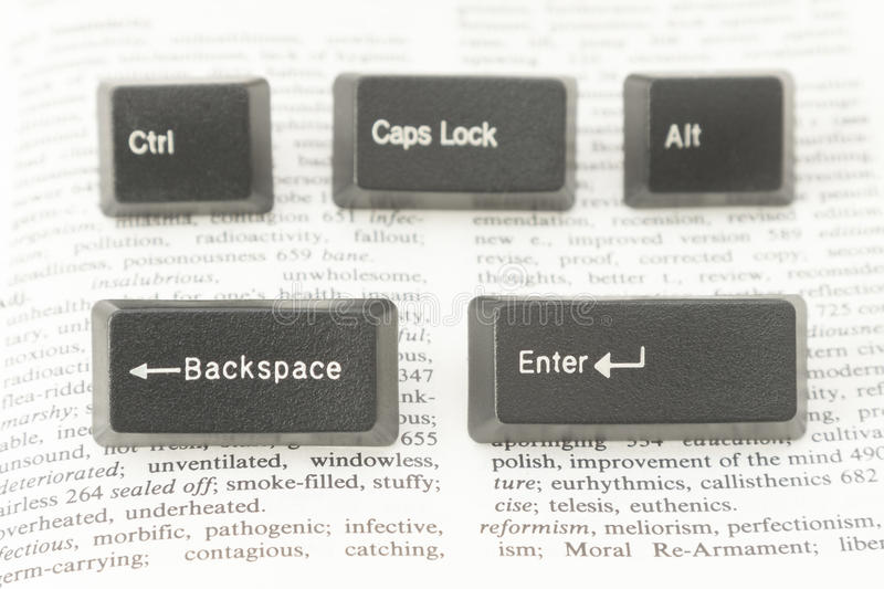 Five Computer Keys on a Book Page. Enter, Ctrl, Caps Lock, Alt and Backspace Computer Keys placed on a Book Page royalty free stock photo