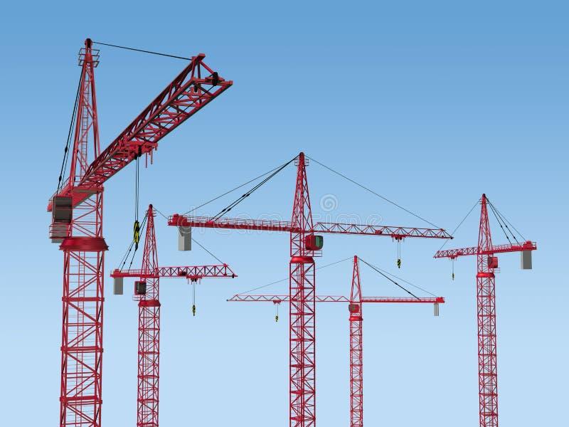 Download Five Cranes on Site stock illustration. Illustration of quayside - 13859213
