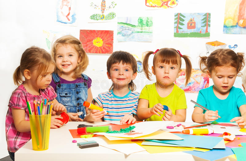Download Five creative kids stock image. Image of brush, elementary - 38747365