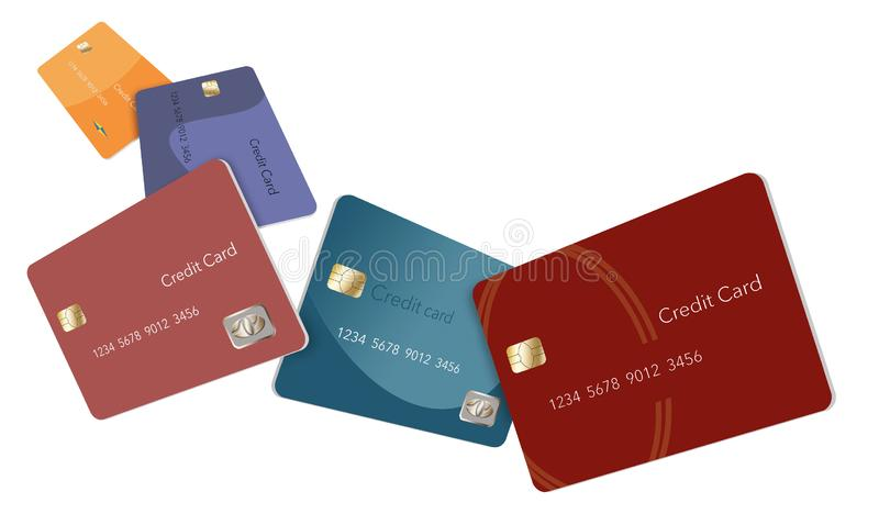 Five credit cards in various colors float through the air in this image. vector illustration