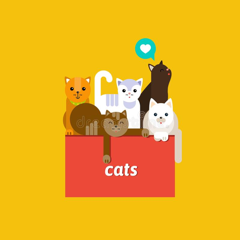 Group of cute cats. Five cute cats on yellow background. Vector flat illustration royalty free illustration