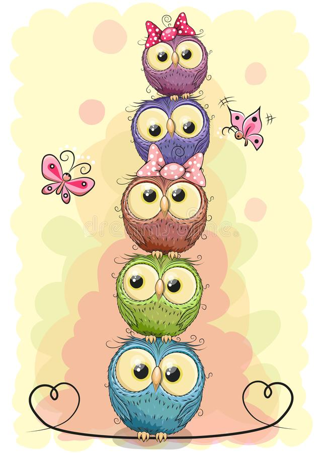 Five cute owls on a yellow background stock illustration