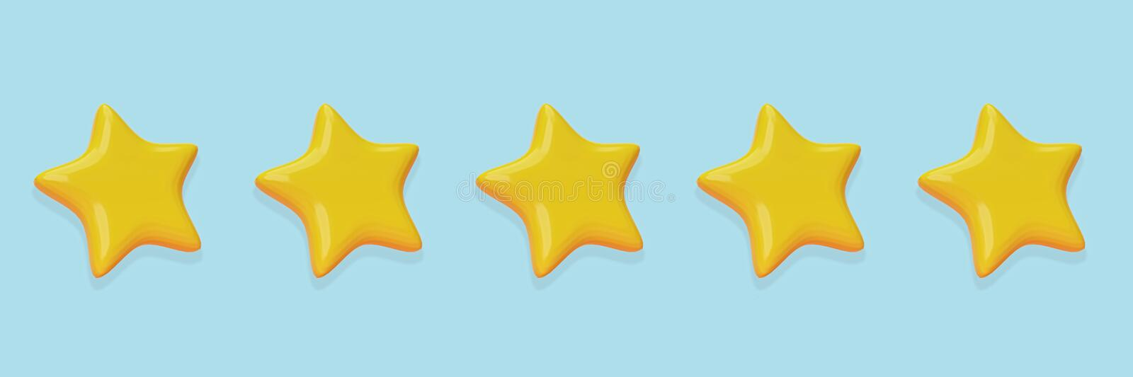 Five cute yellow stars. minimal design rating concept. 3d rendering. Five cute yellow stars isolated on pastel blue background. minimal customer review and royalty free illustration
