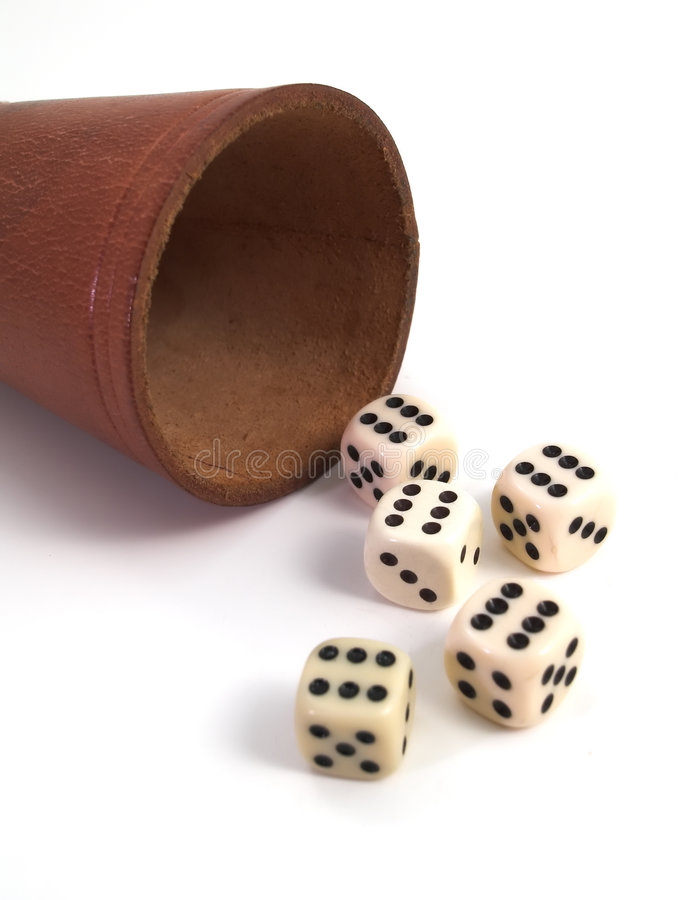 Free Five Dice And Dice Box Royalty Free Stock Images - 2373119