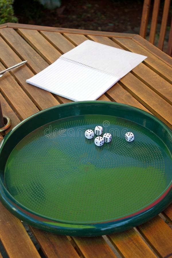 Five 5 dice lying on try with notebook and pen on wooden table royalty free stock photos